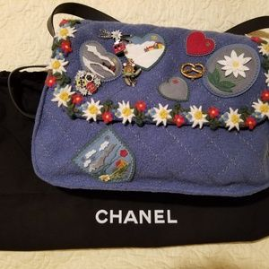 Chanel blue embroidered bag
